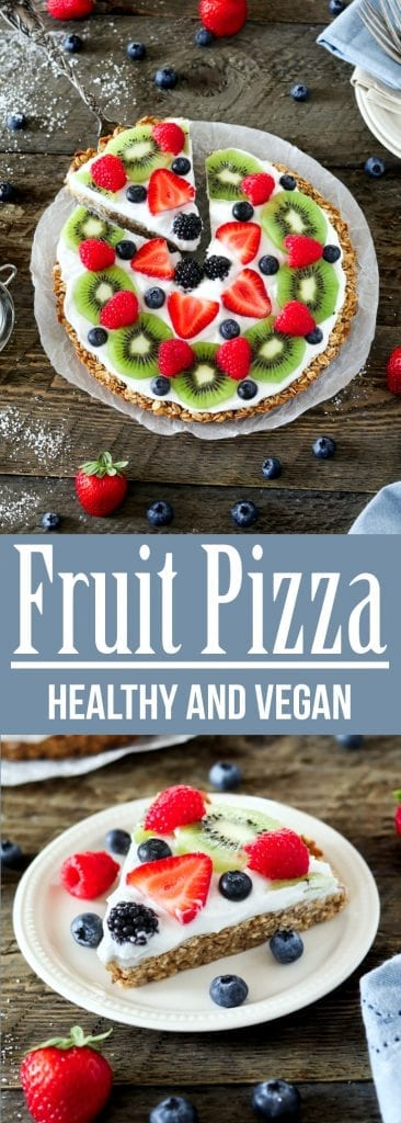Tired of boring oatmeal for breakfast? Why not start your mornings off with this quick & easy Healthy Fruit Pizza?It's nut-free, soy-free, gluten-free, oil-free & vegan!