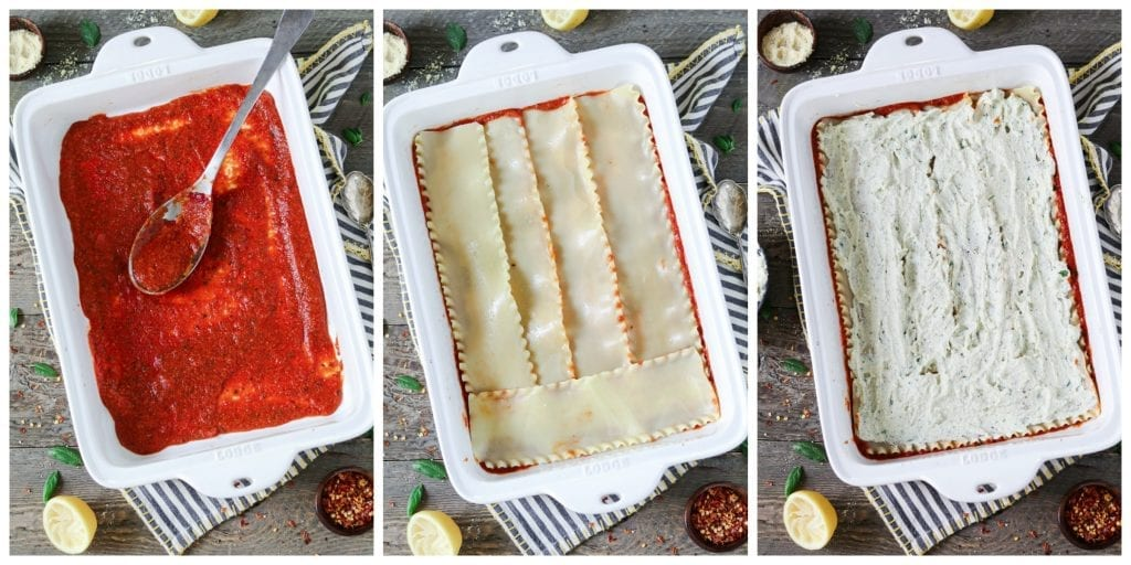 3 process photos - adding sauce layer, then noodle layer and ricotta layer.
