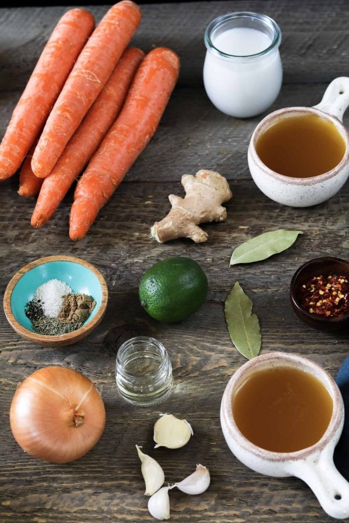 ingredients for vegan carrot ginger soup.