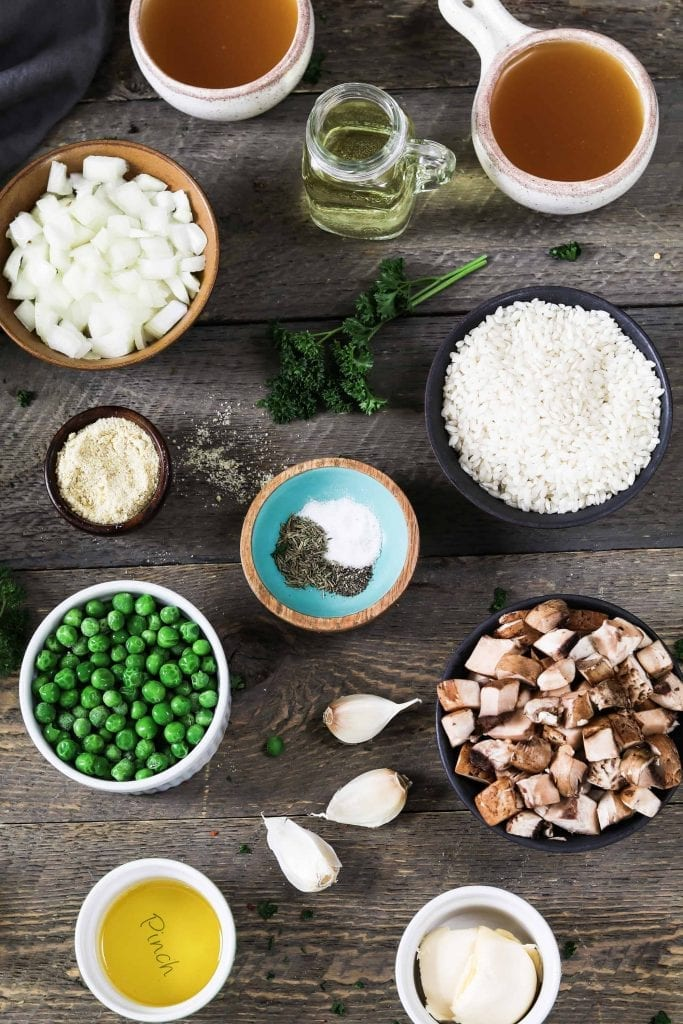 Photo of prepped ingredients for instant pot mushroom risotto.