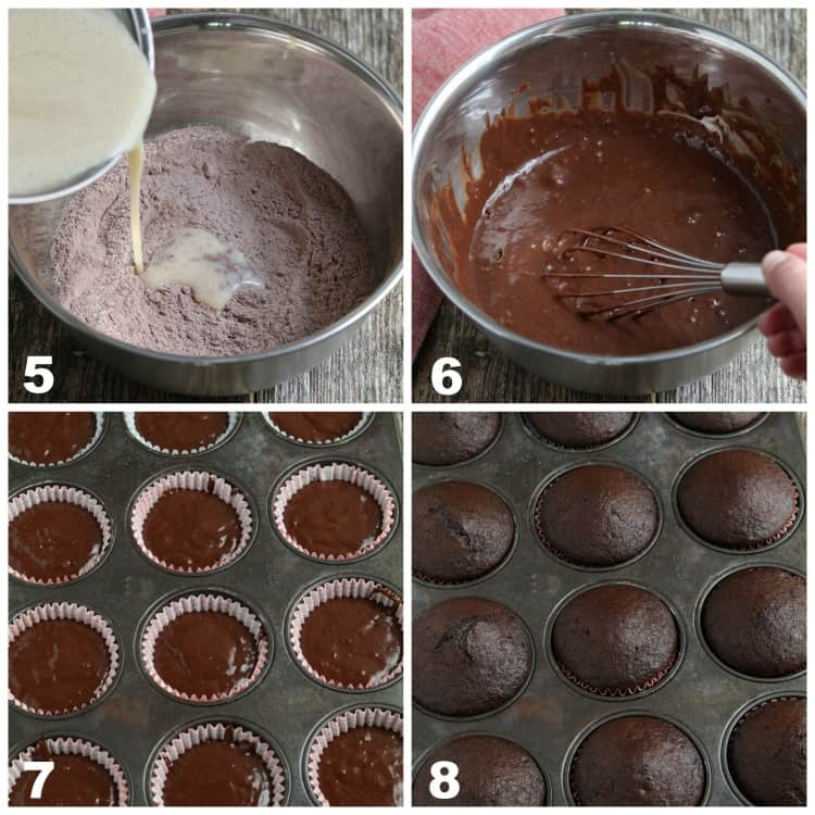 Process photos of pouring wet ingredients into dry. Then filling cupcake pan with batter.