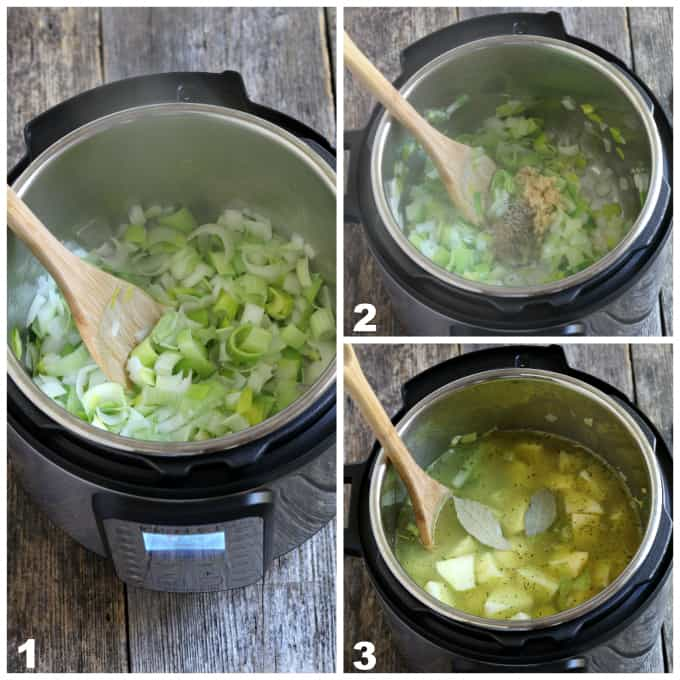 3 process photos of sautéing leeks, onions, and garlic than adding broth.