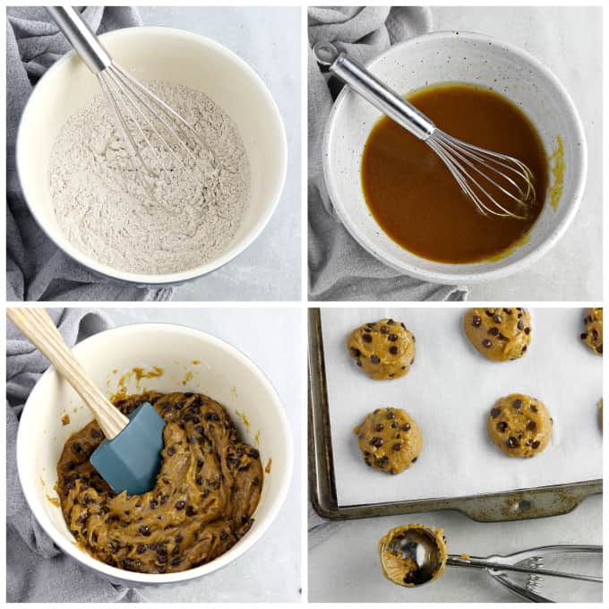 4 process photos of making cookie dough and placing on baking pan.