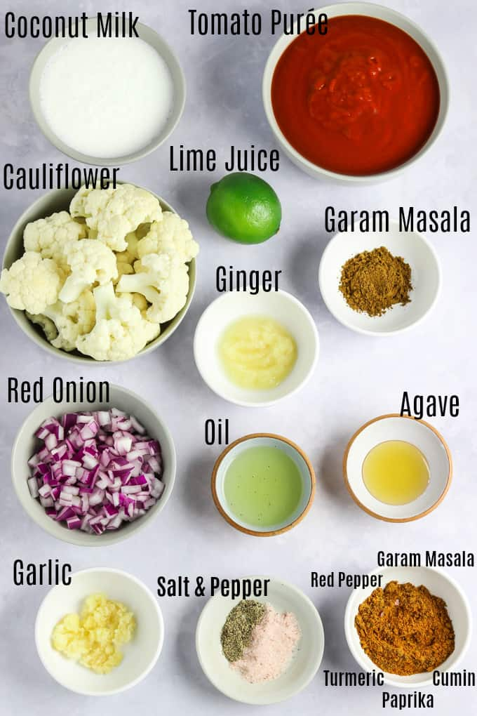 Photo of ingredients on a white table.
