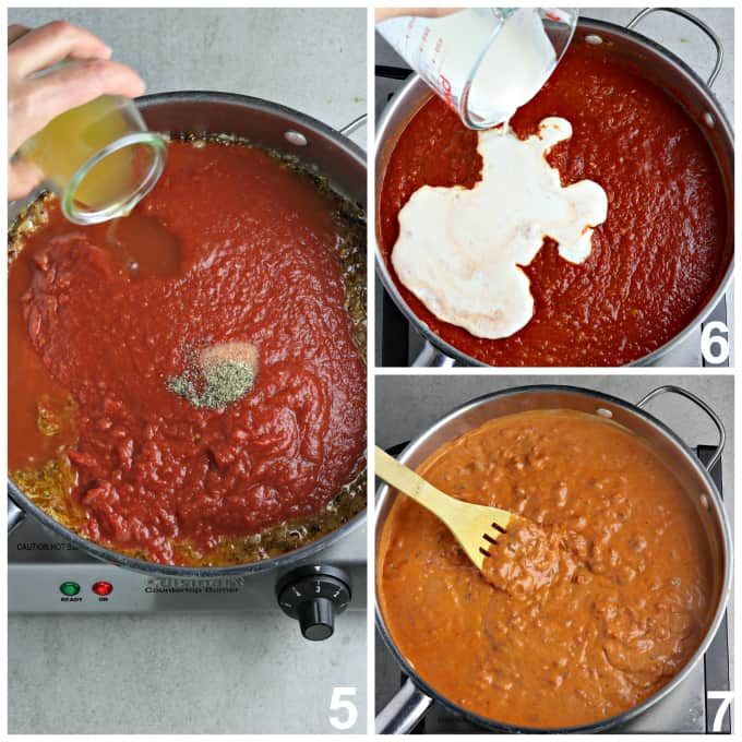 4 process photos of simmering sauce in a pan.