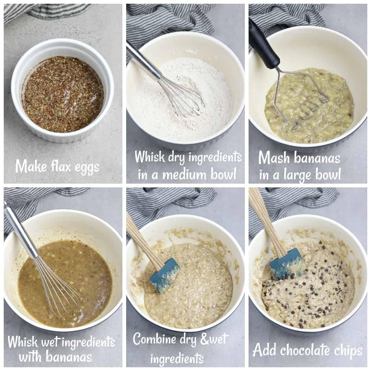 6 process photos of making banana bread batter.
