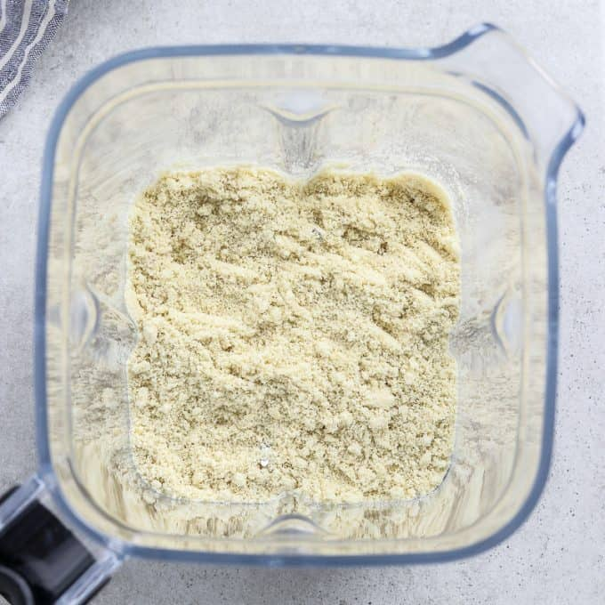 Fully blended ingredients in a blender.