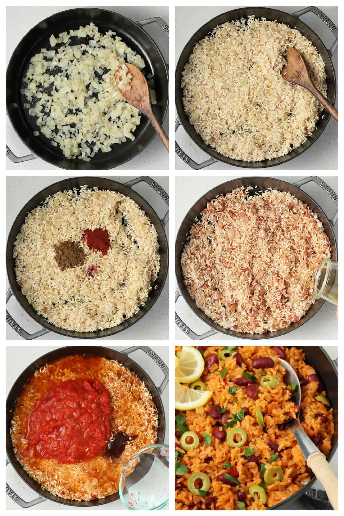 6 process photos showing how to cook the rice.