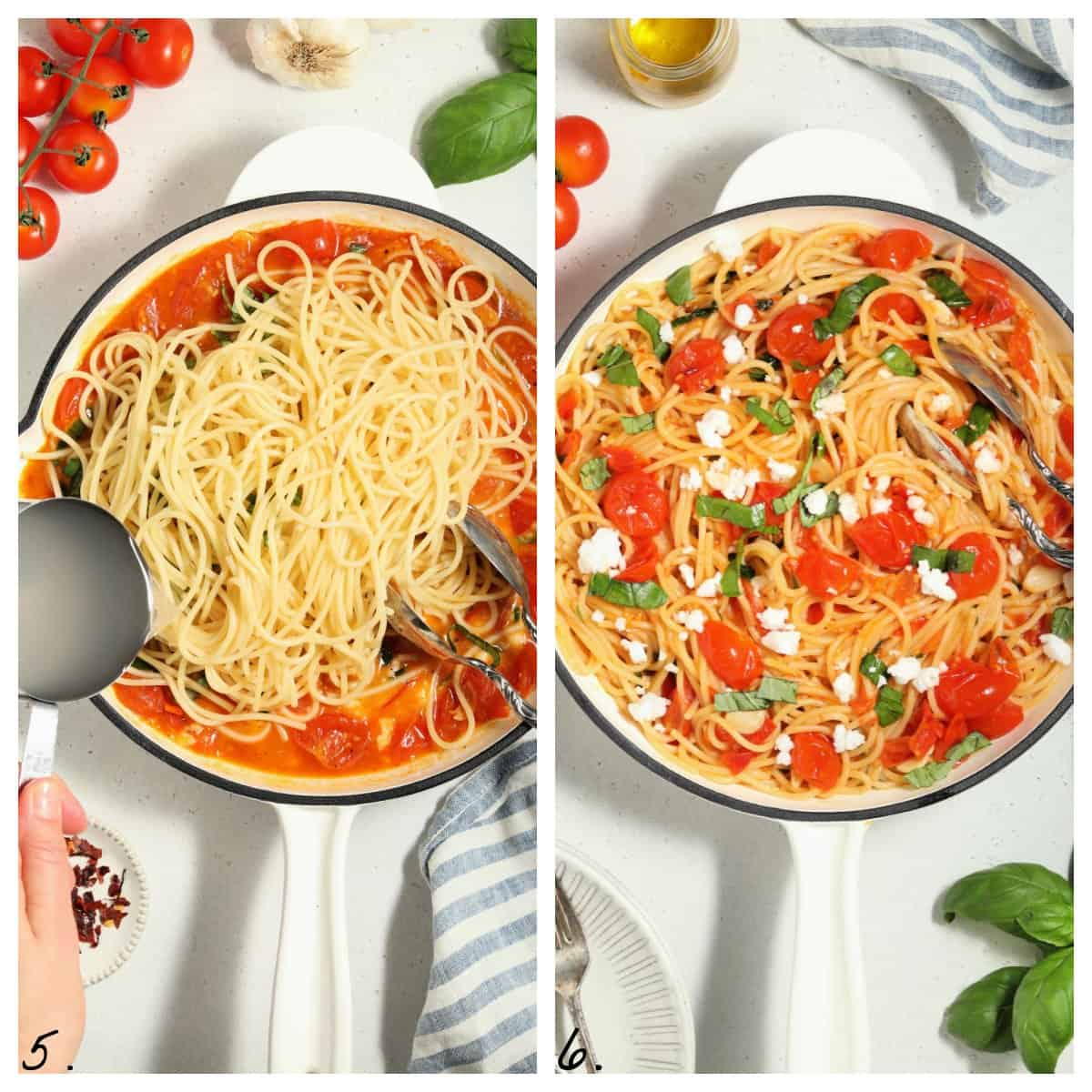 Two process photos of tossing pasta in sauce.