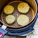 Top down view of Air Fryer Eggplant Parmesan inside of air fryer basket