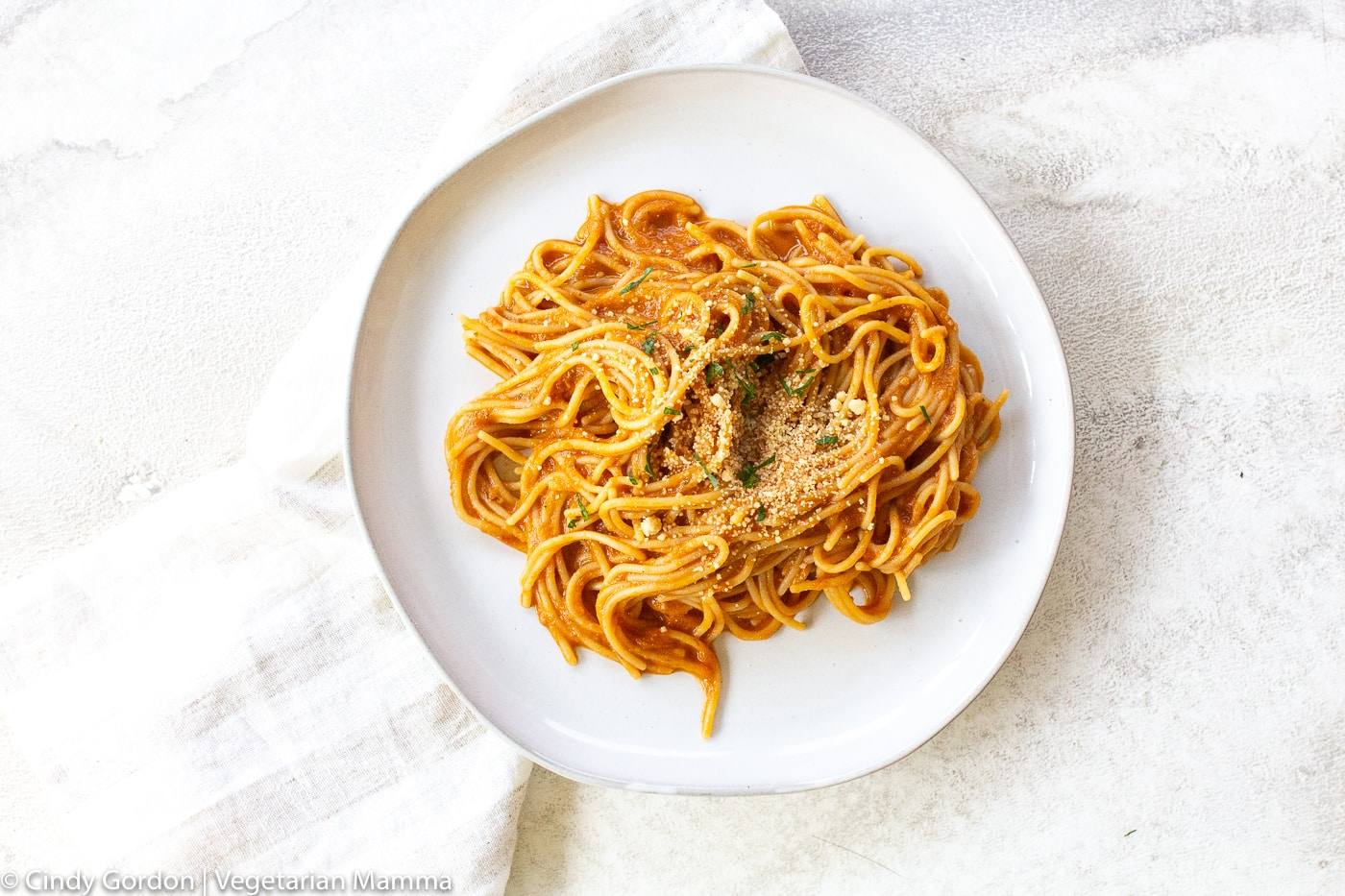 Vegetarian Spaghetti Sauce on white plate with white background