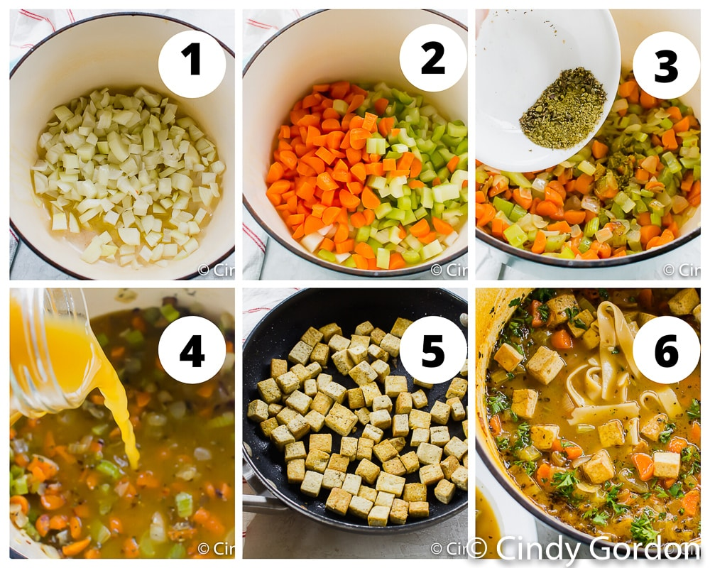 collage of images showing instructions for making tofu noodle soup