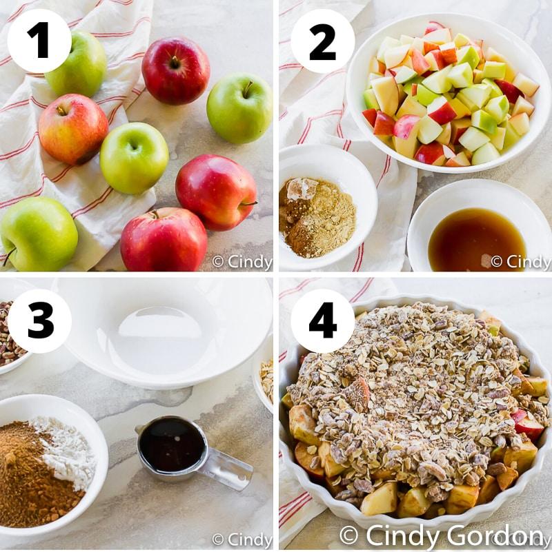 photo collage of 4 steps to make vegan apple crisp