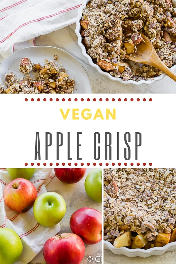 This simple yet delicious Vegan Apple Crisp is the perfect holiday dessert! The crunchy oat topping and sweet cooked apple filling goes great on every table. #apples