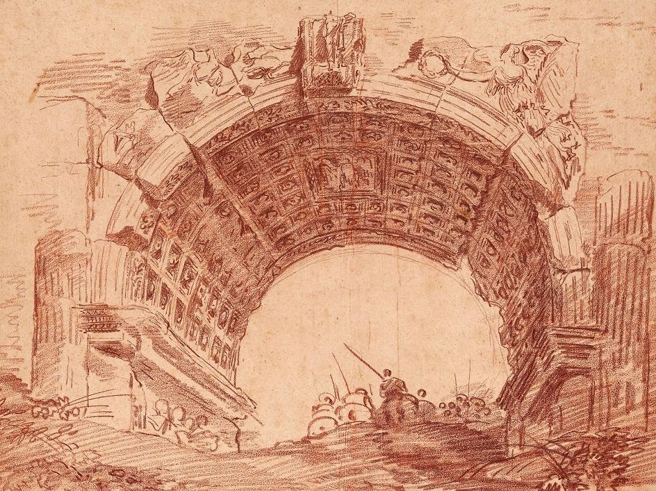 Сангина. Робер Юбер. Рисунок «Вид Рима с всадником, проезжающим через арку Тита», XVIII век