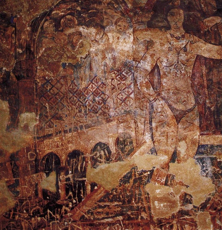 Τοιχογραφία. Μια εικόνα μιας γυναίκας κολύμβησης στο κάστρο του Kusyir Amra. Ιορδανία. VII αιώνα της εποχής μας