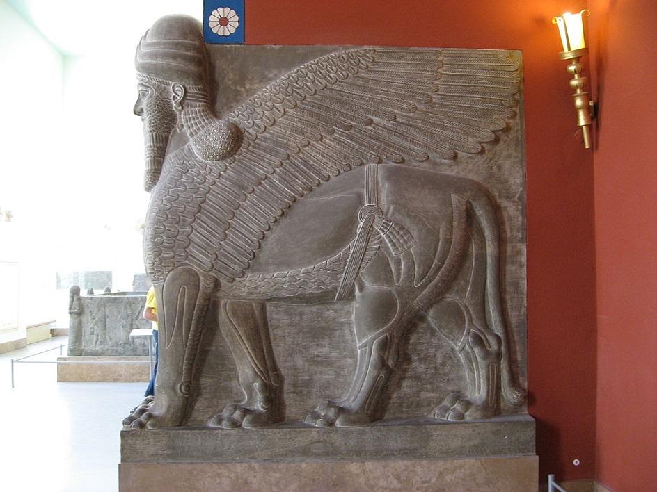 Escultura. Homem alado do palácio tukult-ninurta xiii século para a nossa era