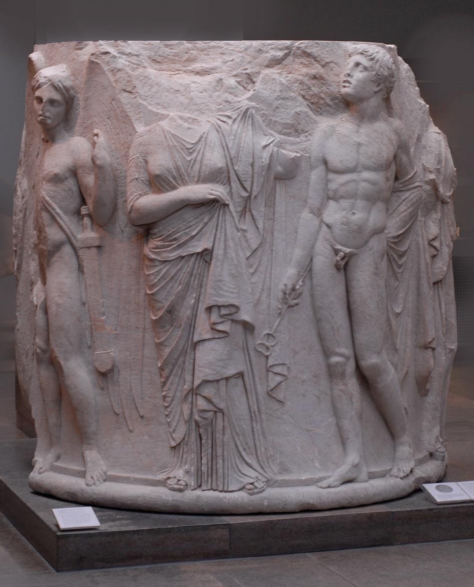 Escultura. A base da coluna do templo de Artemis, século IV BC
