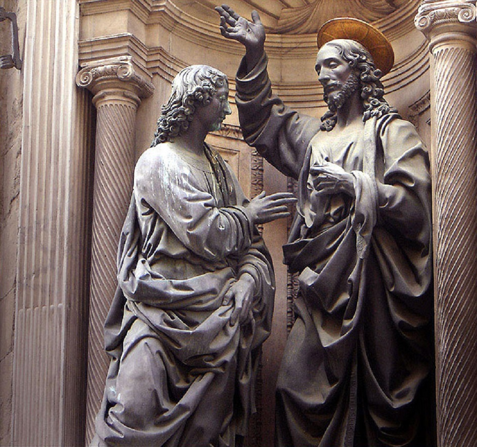 """Escultura. Andrea del Verokko. Escultura """"duvidando de Thomas"""", século XV"""