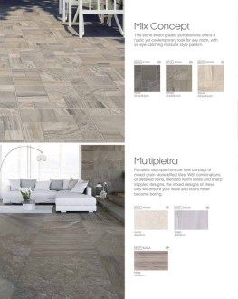 Tile Giant   New Tile Giant Brochure   Page 66 67   Created with     Mix Concept This stone effect glazed porcelain tile offers a rustic yet  contemporary look for any