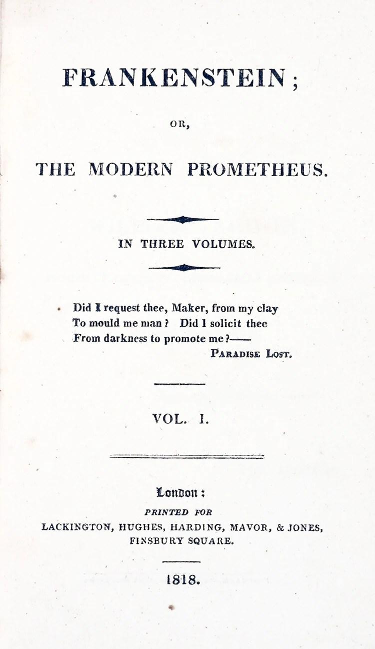 Frankenstein; or, The Modern Prometheus (1818) | Mary ...