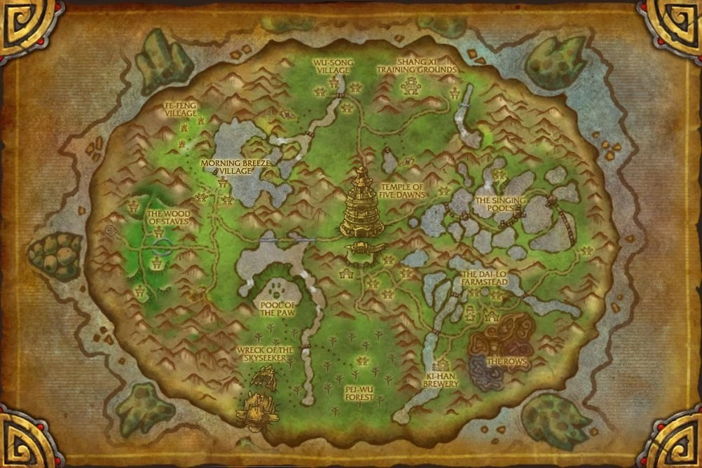 Pandaria Map World Warcraft Large
