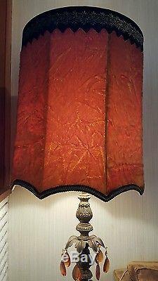 2 Vtg Mcm Hollywood Regency Crushed Velvet Lamp Shade Mid