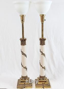 Stiffel Neoclassical Column Brass Table Lamps Pair Vintage