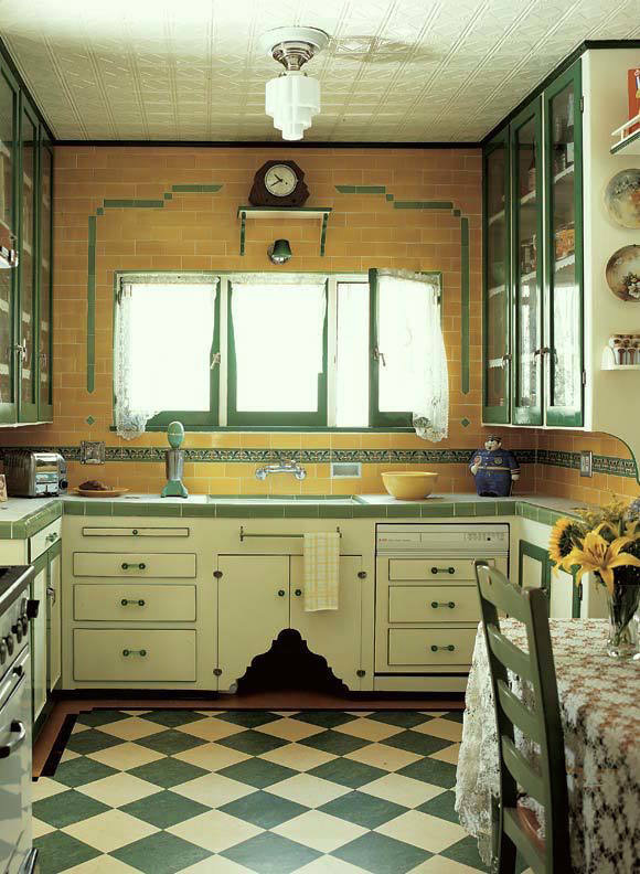 1930s Interiors Weren t All Black  Gold and Drama 1930s Kitchen