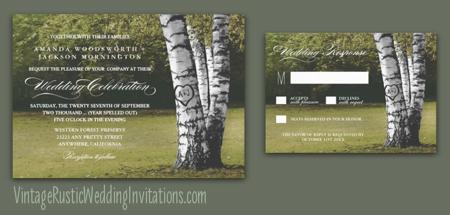 Tree Bark Wedding Invitations