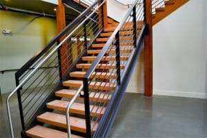 Floating Wood Stair Treads Viridian Wood | Thick Wood Stair Treads | Solid Weathered | Baby Blue White Stair | Custom | Prefinished | Glue Laminated