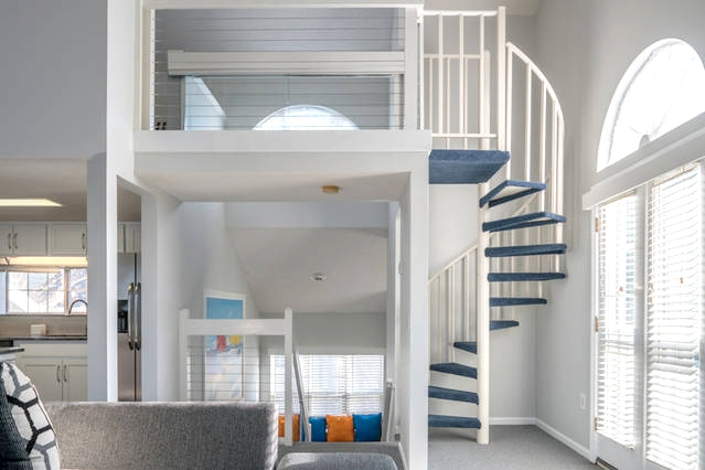 Modern Loft And Spiral Staircase Vistaview Cabletec   Loft With Spiral Staircase   Small   Contemporary   Addition   Timber   New