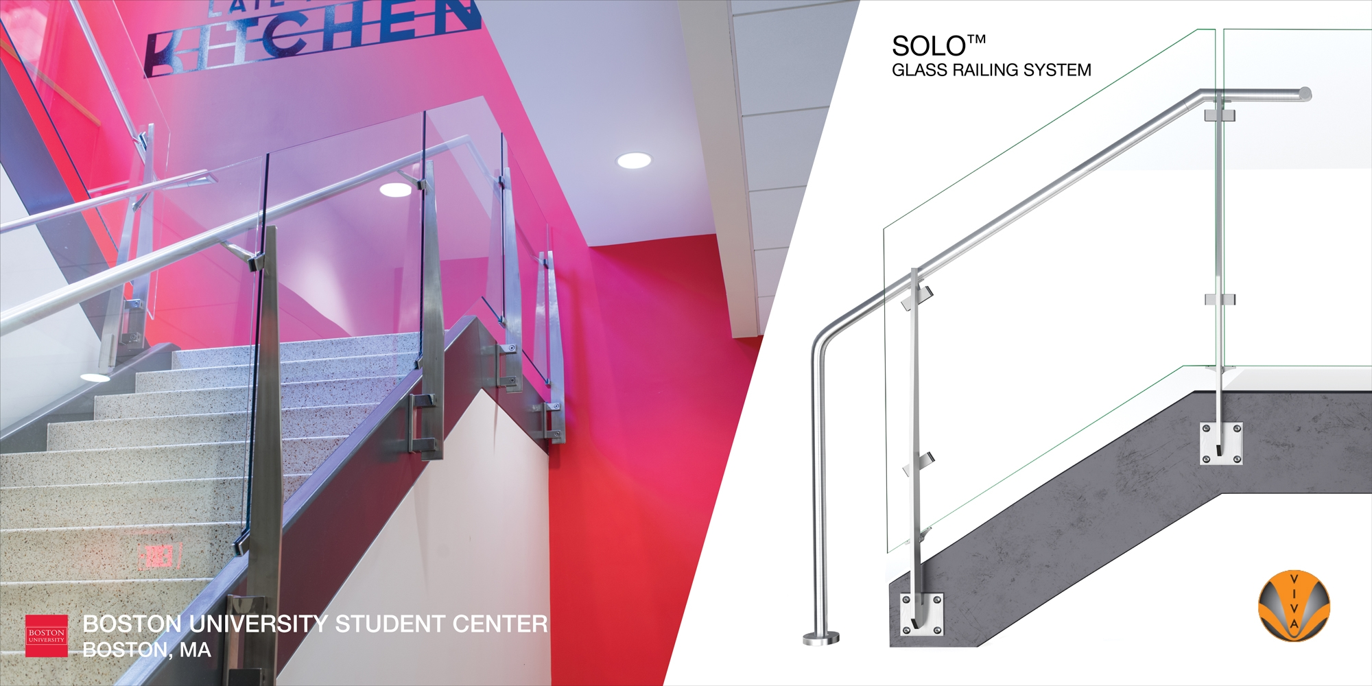 Solo Slim Line Glass Railing Boston University Student Center   Glass Railing For Stairs Price   Railing Systems   Cable Railing   Alibaba   China   Wood