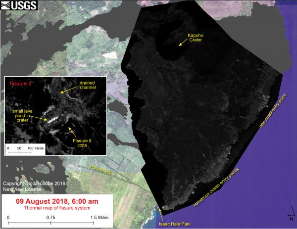 USGS  Volcano Hazards Program HVO Kilauea Thermal map of fissure system and lava flows