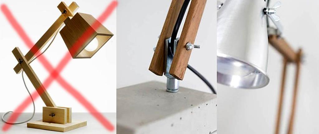 نادرست و به درستی طراحی الکتریکی را در یک لامپ میز بر روی یک براکت لولایی قرار دهید.