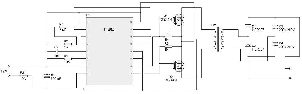 Қарапайым конвертердің схемасы Суретте 500-600 Вт үшін 12 V DC / 220 V DC беріледі: