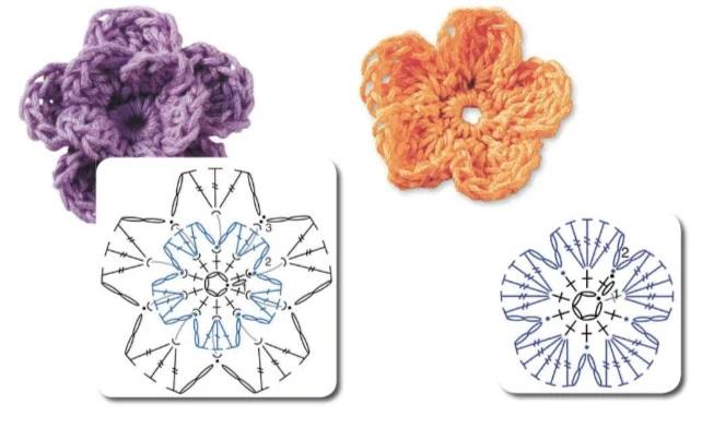 الزهور مع الكروشيه مع مخططات