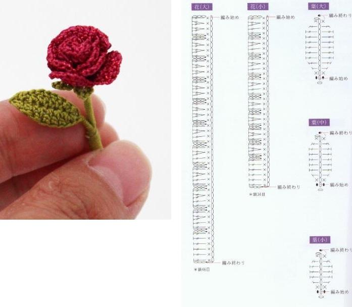 цветы розы крючком и схемы