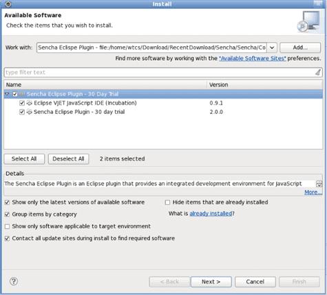 Sencha Eclipse Plugin for ExtJS - WalkingTree Technologies
