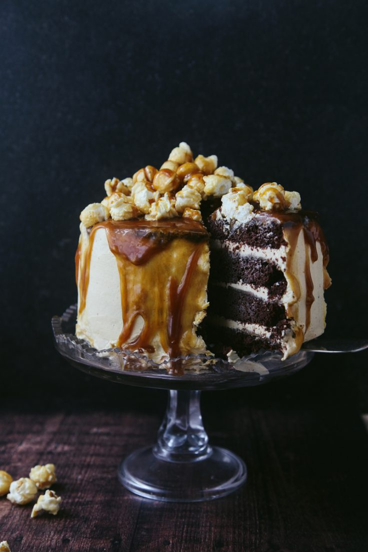 Chocolate Caramel Popcorn Cake Vegan Wallflower Kitchen