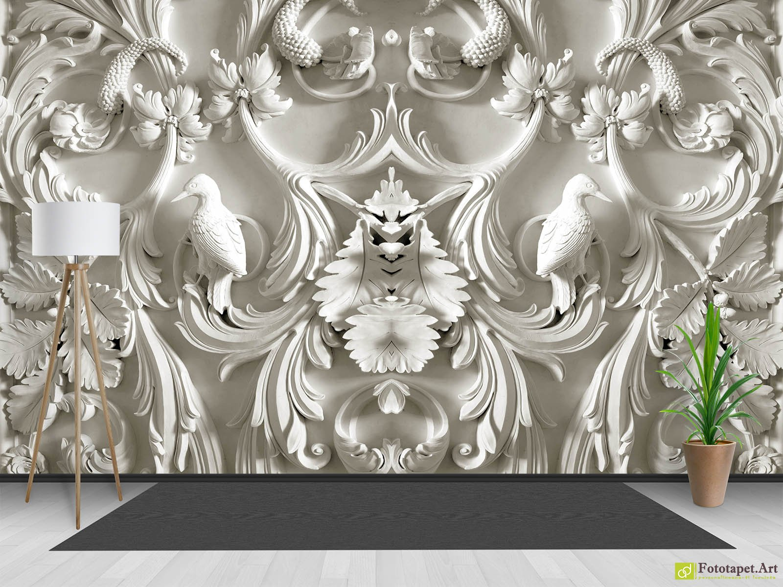 Photo Wallpaper 3DEffect   Birds of gypsum and loops   Fototapet art     Photo Wallpaper 3D Effect   Birds of gypsum and loops