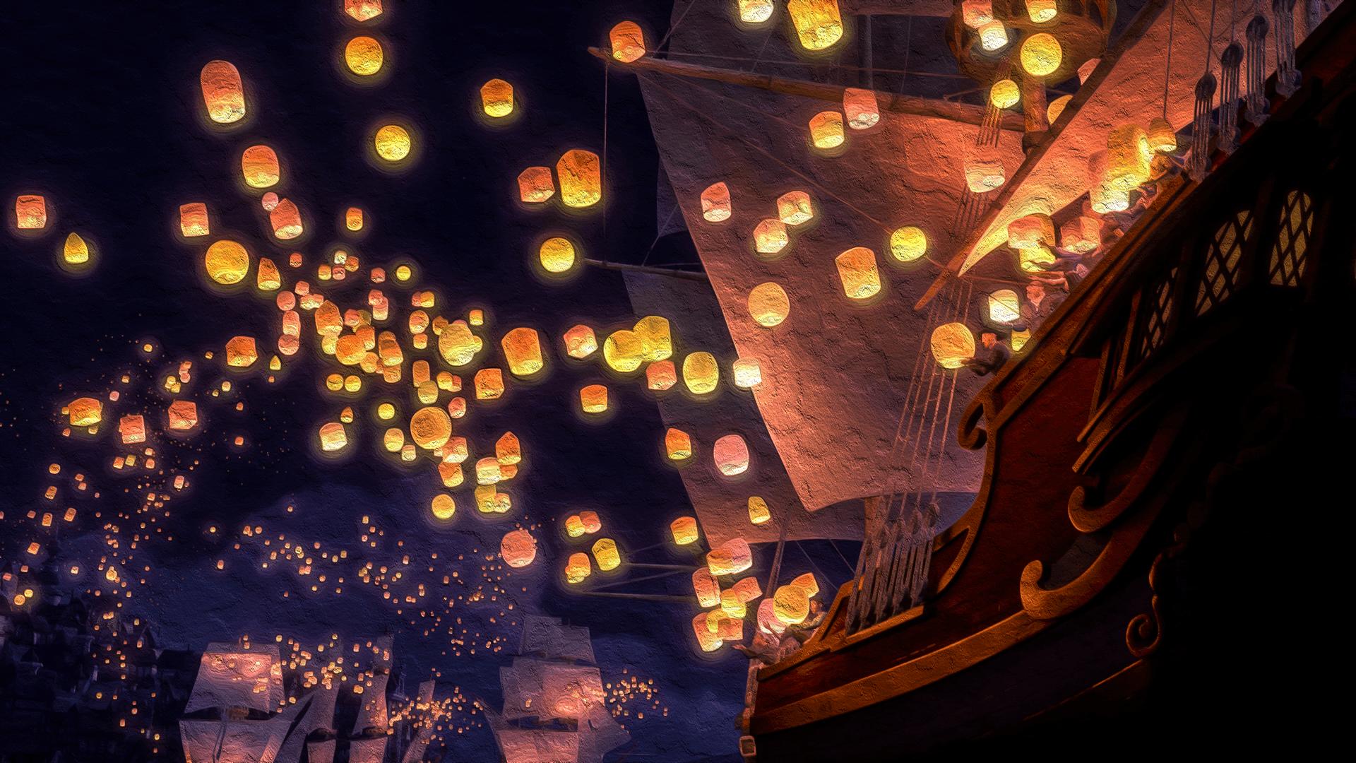 Floating Lanterns Sky Desktop Background