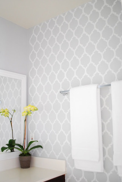 Bathroom Wallpapers Inspiration   Or brighten it up and give it     Or brighten it up and give it extra character with stencils in white or the  same