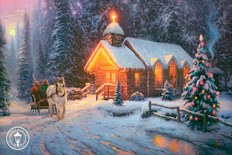 Christmas Scene Light Led Canvas