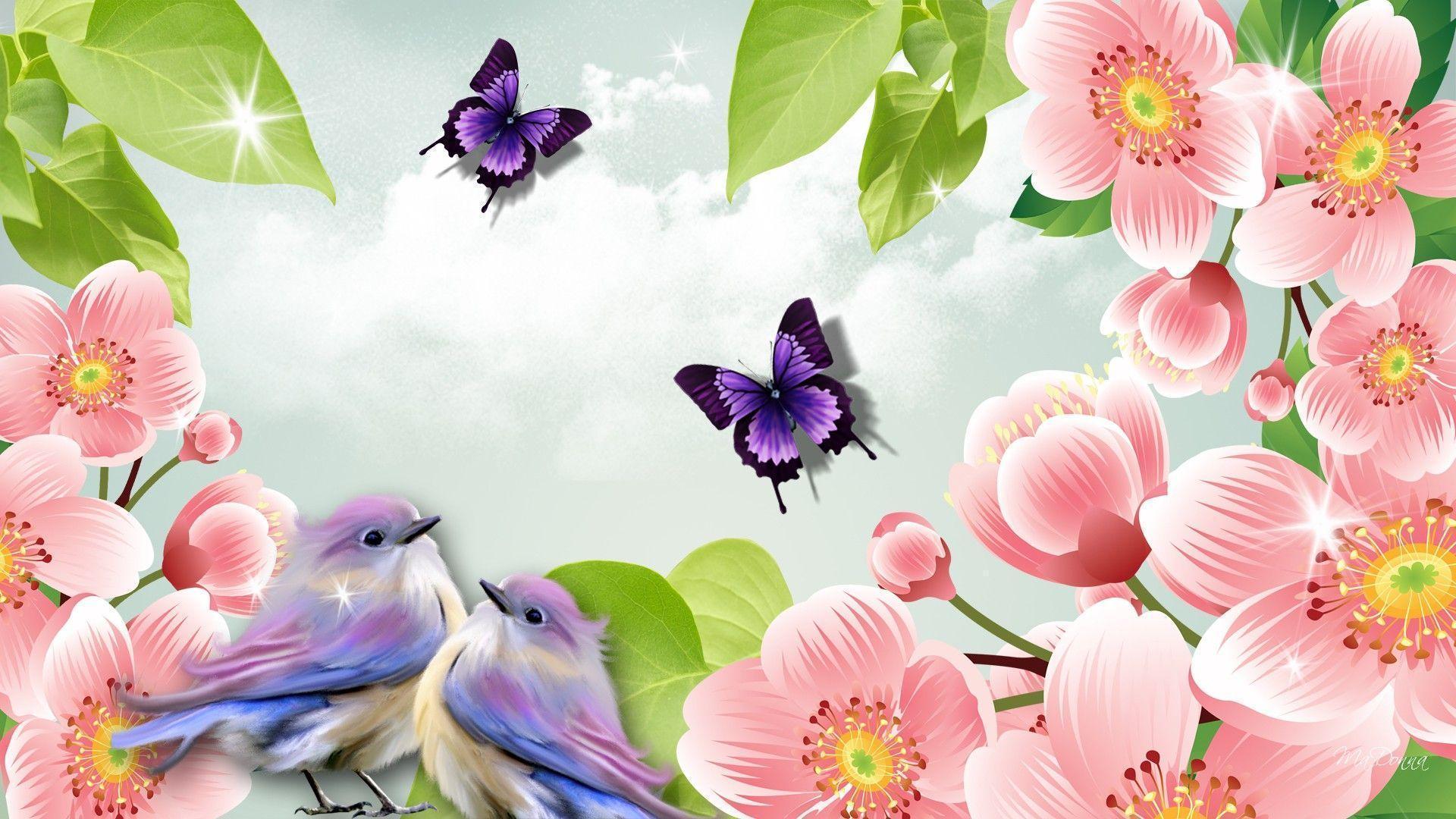 hummingbird with purple flower screensaver