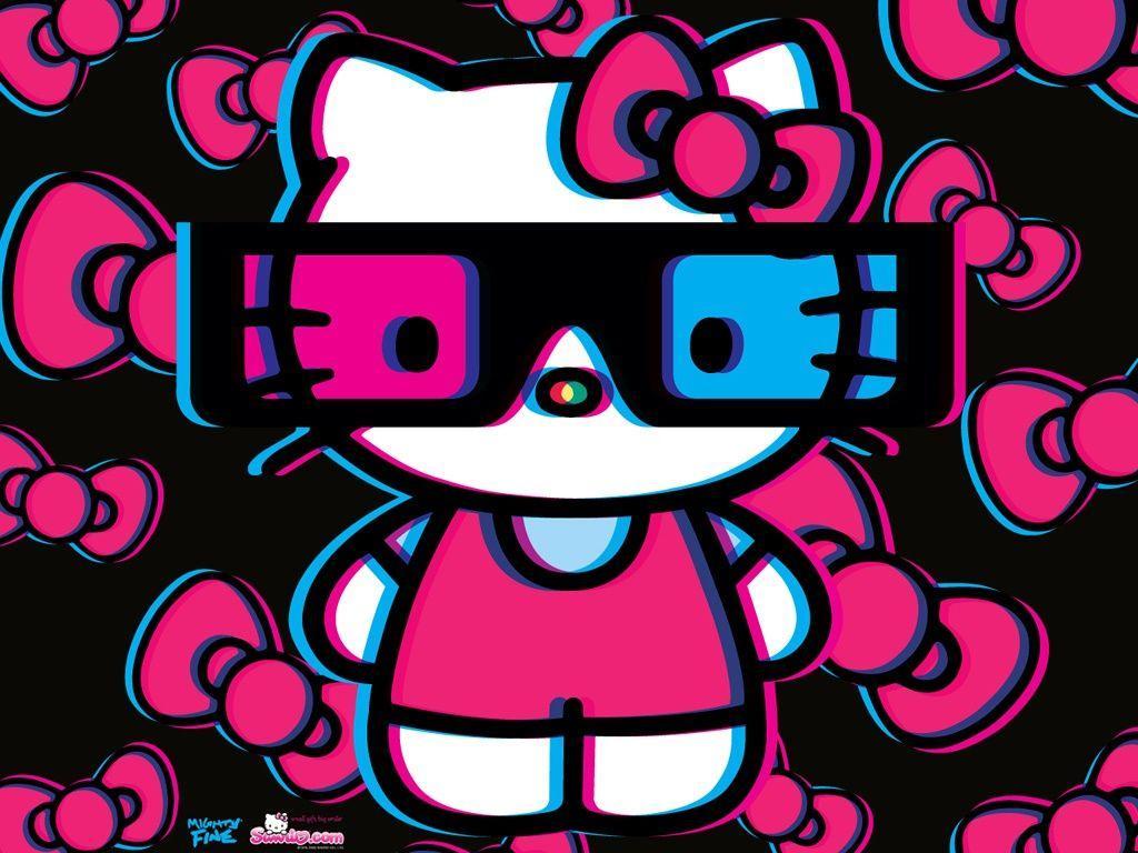 Wallpaper Black Red Hello Kitty