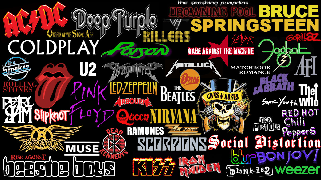 Famous Rock Band Collage Wallpaper