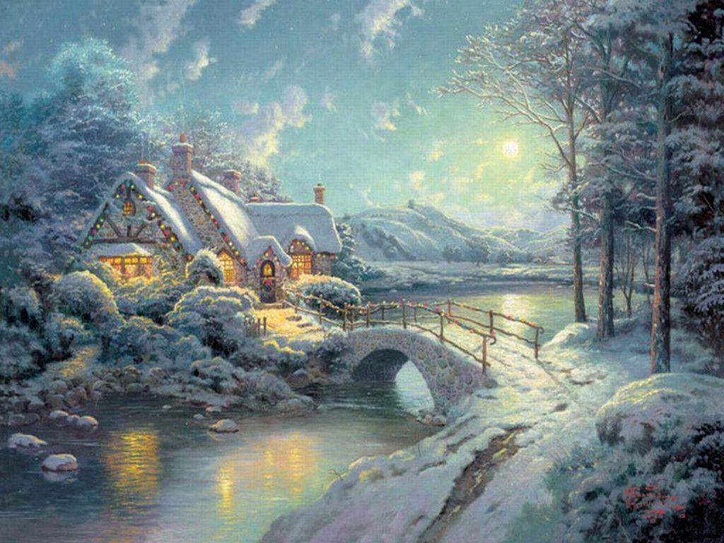 Christmas Wallpaper Kinkade Living Thomas