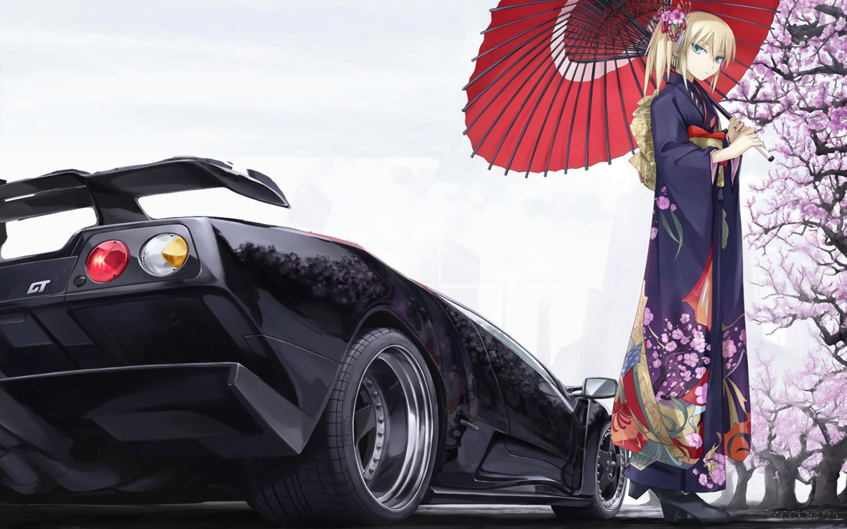 Cool Car And Cute Girl Anime Wallpaper Wallpaper   WallpaperLepi Cool Car And Cute Girl Anime Wallpaper
