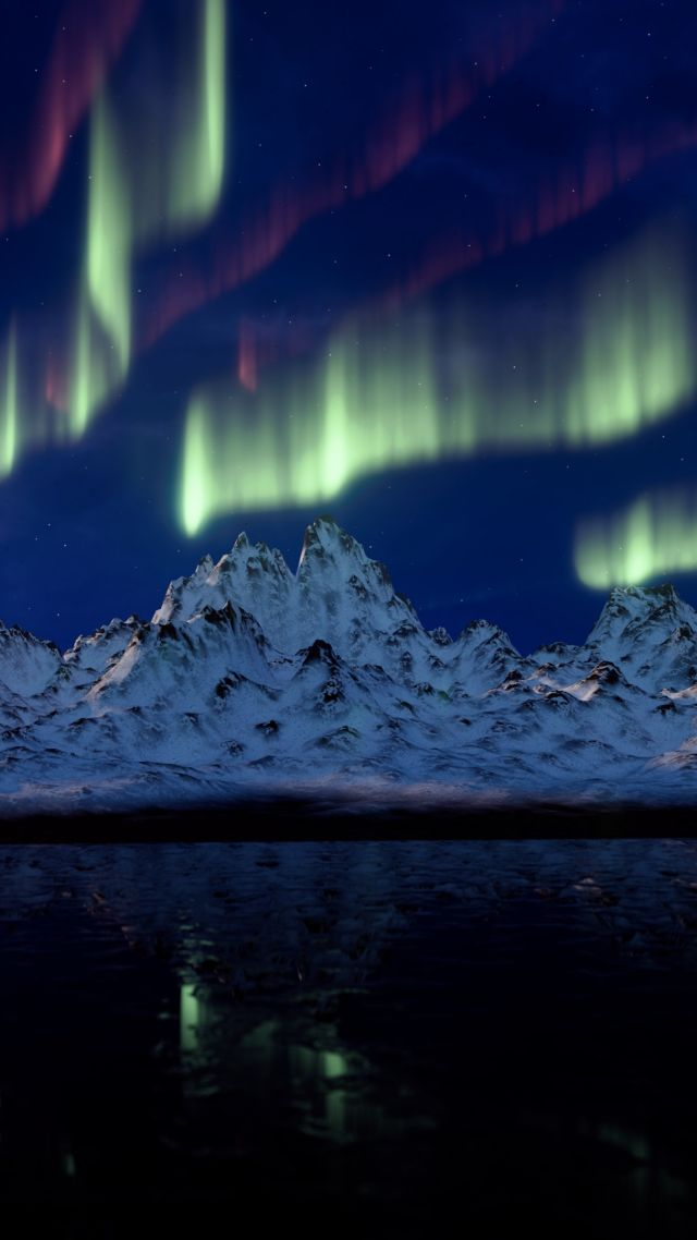 Mountains And Northern Lights